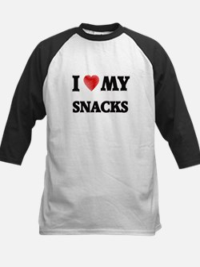 I Love My Snacks food design Baseball Jersey