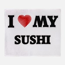 I Love My Sushi food design Throw Blanket