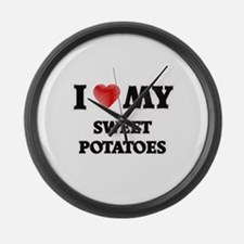 I Love My Sweet Potatoes food des Large Wall Clock