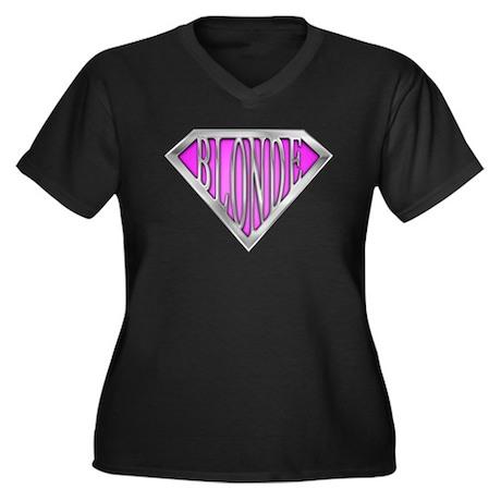 SuperBlonde(pink) Women's Plus Size V-Neck Dark T-
