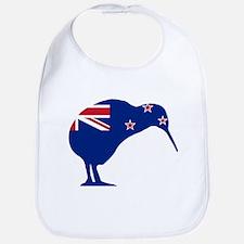 New Zealand Flag With Kiwi SIlhouette Bib