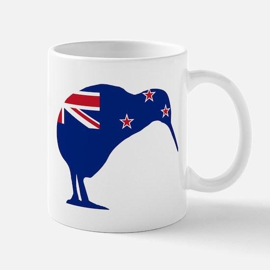 New Zealand Flag With Kiwi SIlhouette Mugs