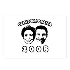 Clinton / Obama 2008 Postcards (Package of 8)