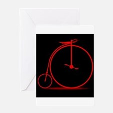 Red Penny Farthing Greeting Cards