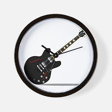 Black Semi Solid Guitar Wall Clock
