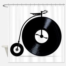 Penny Farthing With Vinyl Records Shower Curtain