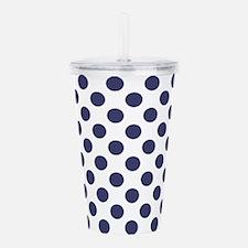 Blue Polka Dot Pattern Acrylic Double-wall Tumbler