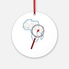Uganda Under A Magnifying Glass Round Ornament