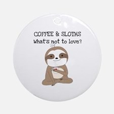 Coffee and Sloths Round Ornament