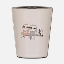Cute Animals Three Sloths Shot Glass