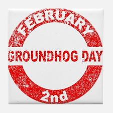 Groundhog Day Stamp Tile Coaster