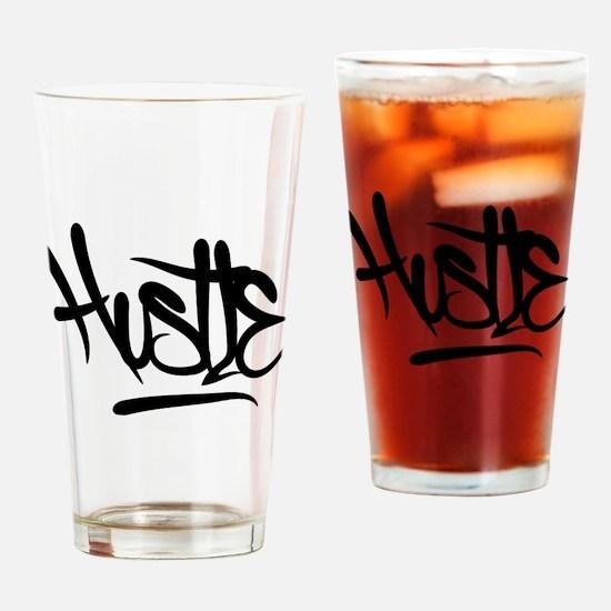 Hustle Typography Drinking Glass