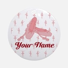 Personalized Pink Ballet Slippers Ballerina Round