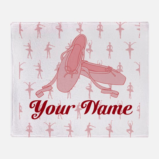 Personalized Pink Ballet Slippers Ballerina Throw