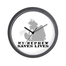 Firefighter Nephew Saves Lives Wall Clock