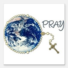 """Rosary4World_transp.png Square Car Magnet 3"""" x 3"""""""