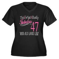 47th Birthday Gifts Women's Plus Size V-Neck Dark