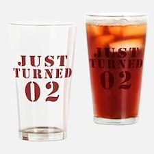 Just Turned 02 Birthday Drinking Glass
