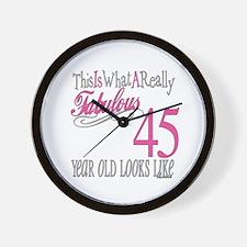 45th Birthay Gifts Wall Clock