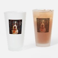 Border Collie: A Portrait in Oil Drinking Glass