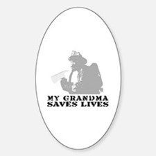 Firefighter Grndma Saves Lives Oval Decal