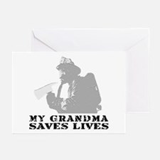 Firefighter Grndma Saves Lives  Greeting Cards (Pk