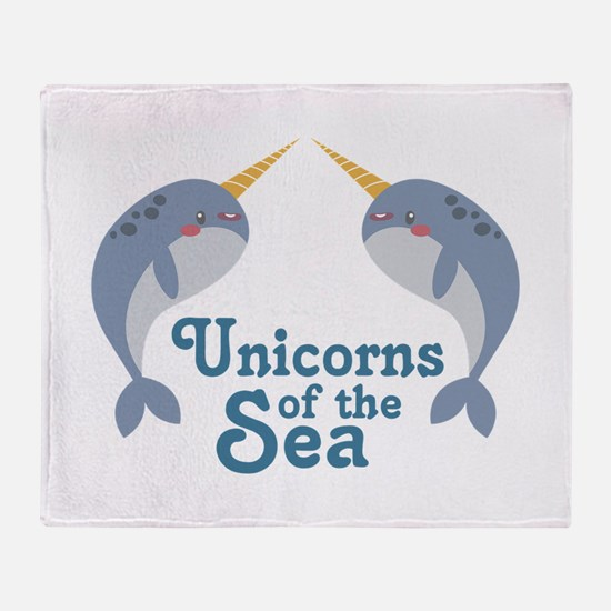 Unicorns Of Sea Throw Blanket