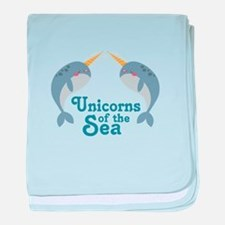Unicorns Of Sea baby blanket