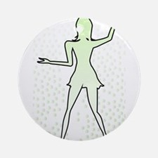 Dancing Girl Outline Round Ornament