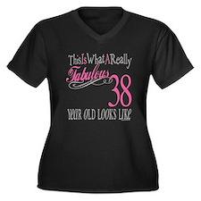 38th Birthday Gifts Women's Plus Size V-Neck Dark
