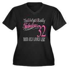 32nd Birthday Gifts Women's Plus Size V-Neck Dark