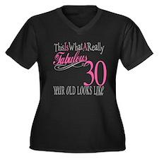 30th Birthday Gifts Women's Plus Size V-Neck Dark
