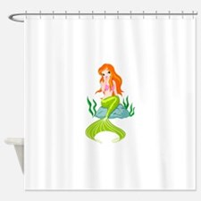 Mermaid sitting on a rock design Shower Curtain