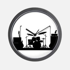 Rock Band Equipment Silhouette Wall Clock