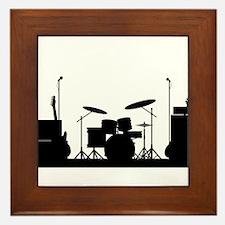 Rock Band Equipment Silhouette Framed Tile