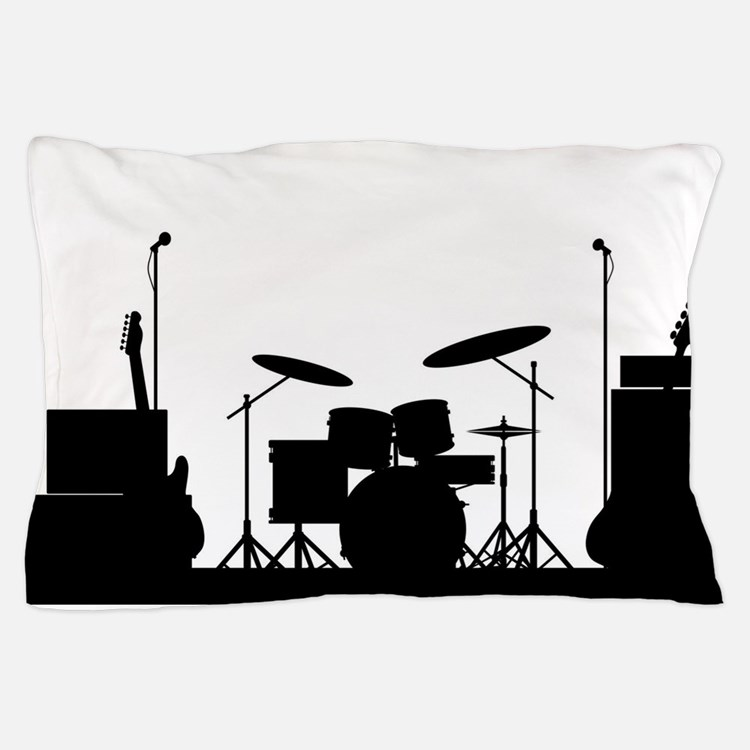 Rock Band Equipment Silhouette Pillow Case