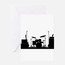 Rock Band Equipment Silhouette Greeting Cards