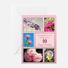 99th birthday, beautiful flowers birthday card Gre