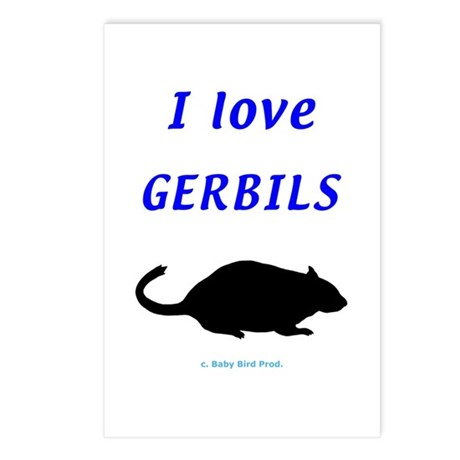 I Love Gerbils Postcards (Package of 8)