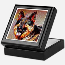 German Shepherd: A Portrait in Oil Keepsake Box