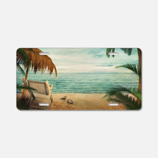 Vintage Beach Aluminum License Plate