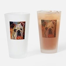 English Bulldog: A Portrait in Oil Drinking Glass