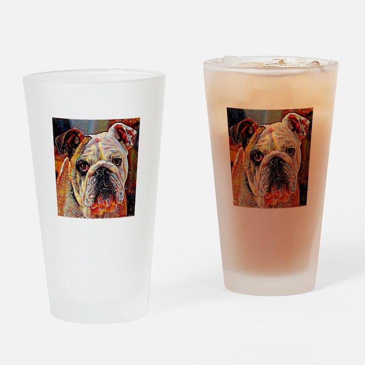 English Bulldog: A Portrait in Oil Drinking Glass