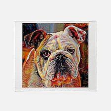 English Bulldog: A Portrait in Oil Throw Blanket