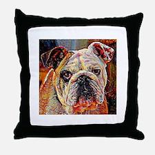 English Bulldog: A Portrait in Oil Throw Pillow
