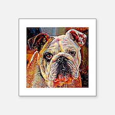 """English Bulldog: A Portrait Square Sticker 3"""" x 3"""""""