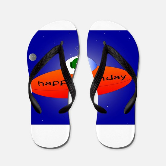 Happy Birthday Alien Flip Flops