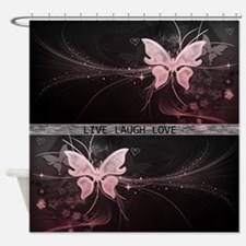 Live laugh love butterfly Shower Curtain