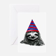 Party Sloth Greeting Cards