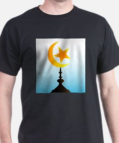 Crescent Moon and Star With Sky T-Shirt